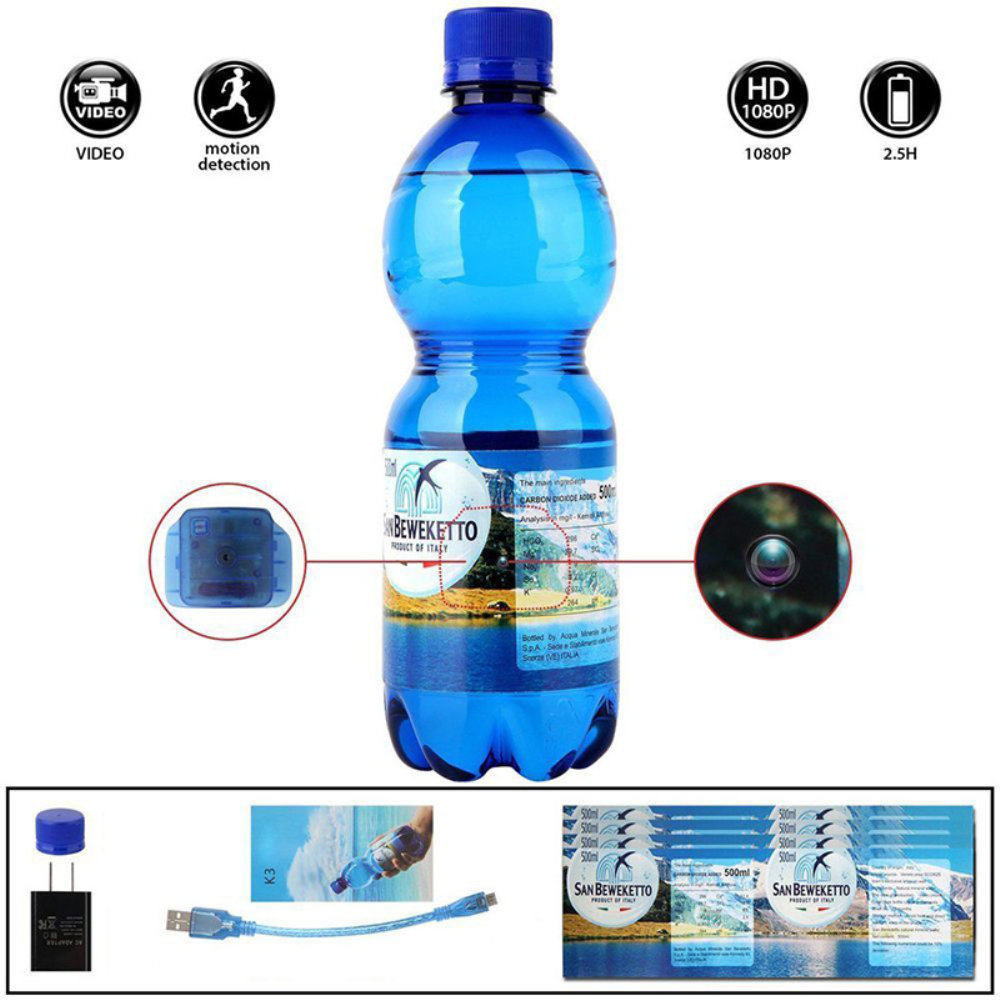 1080P HD Hidden Water Bottle Spy Camera Motion Detection Camcorder