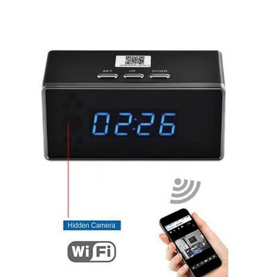 Spy HD 1080P Wireless WiFi Hidden Security Camera Clock US plug Black