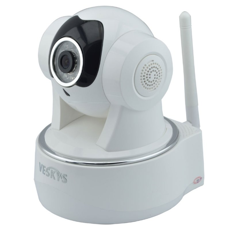 VESKYS N622W 720P CMOS HD Surveillance Wireless Wi-Fi Two-way Audio Network IP Camera White TM86TT2792