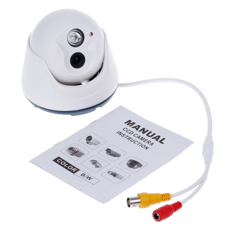 "1/4"" CMOS 800TVL Surveillance Dome Camera with 1-IR LED White"