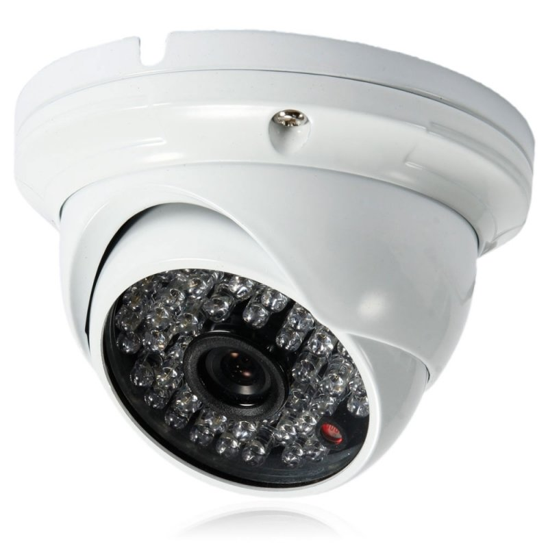 "1/4"" CMOS 48LED 1000TVL NTSC 3.6mm Large Metal Round Plate Surveillance Dome Camera White TM21006033"
