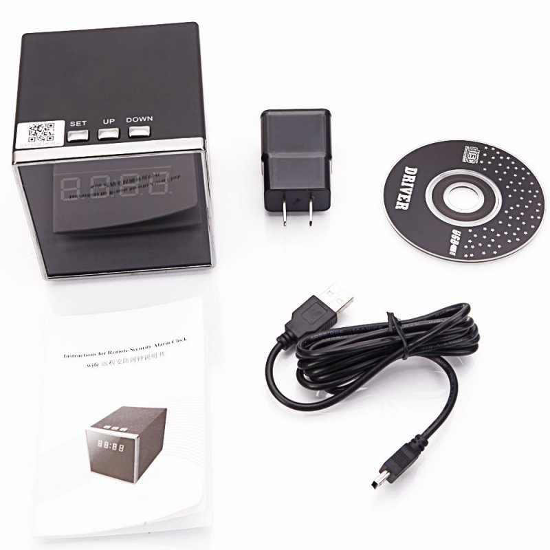 T18 1080P HD Wi-Fi Speaker Clock Hidden Camera US Standard Plug Black