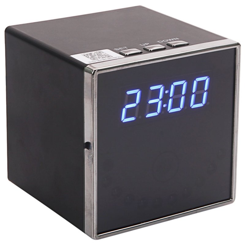 T18 1080P HD Wi-Fi Speaker Clock Hidden Camera US Standard Plug Black TM86TT2868
