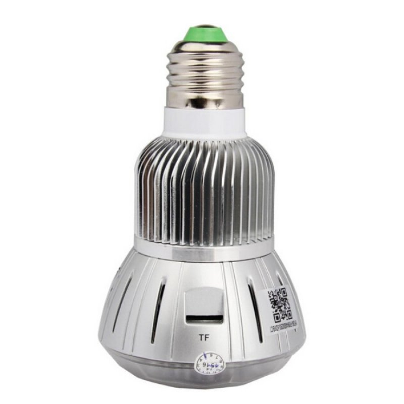 1080P 360°Panoramic WIFI Light Bulb Camera with IR Night Vision Silver