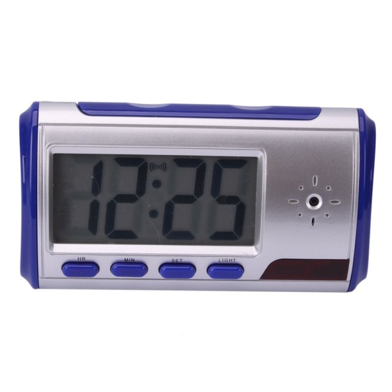 Digital Alarm Clock with Pinhole Camera + Motion Sensor Blue