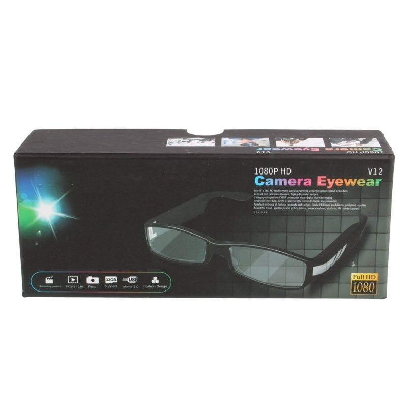 1920 x 1080 HD Glasses Hidden Eyewear Video Recorder Black