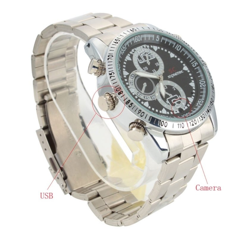 8GB HD Steel Belt Watch Camera Silver