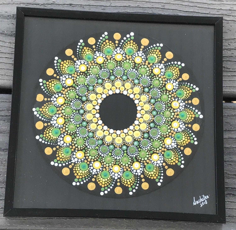 Dot Mandala Art on Vinyl Record 45 RPM Framed