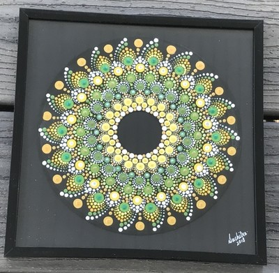 Dot Mandala Art on Vinyl Record 45 RPM Framed