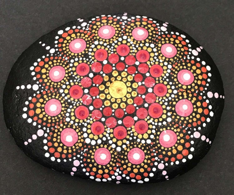Red Sunshine Dot Mandala Rock Painting Home Decor Gardening Mindfulness Meditation
