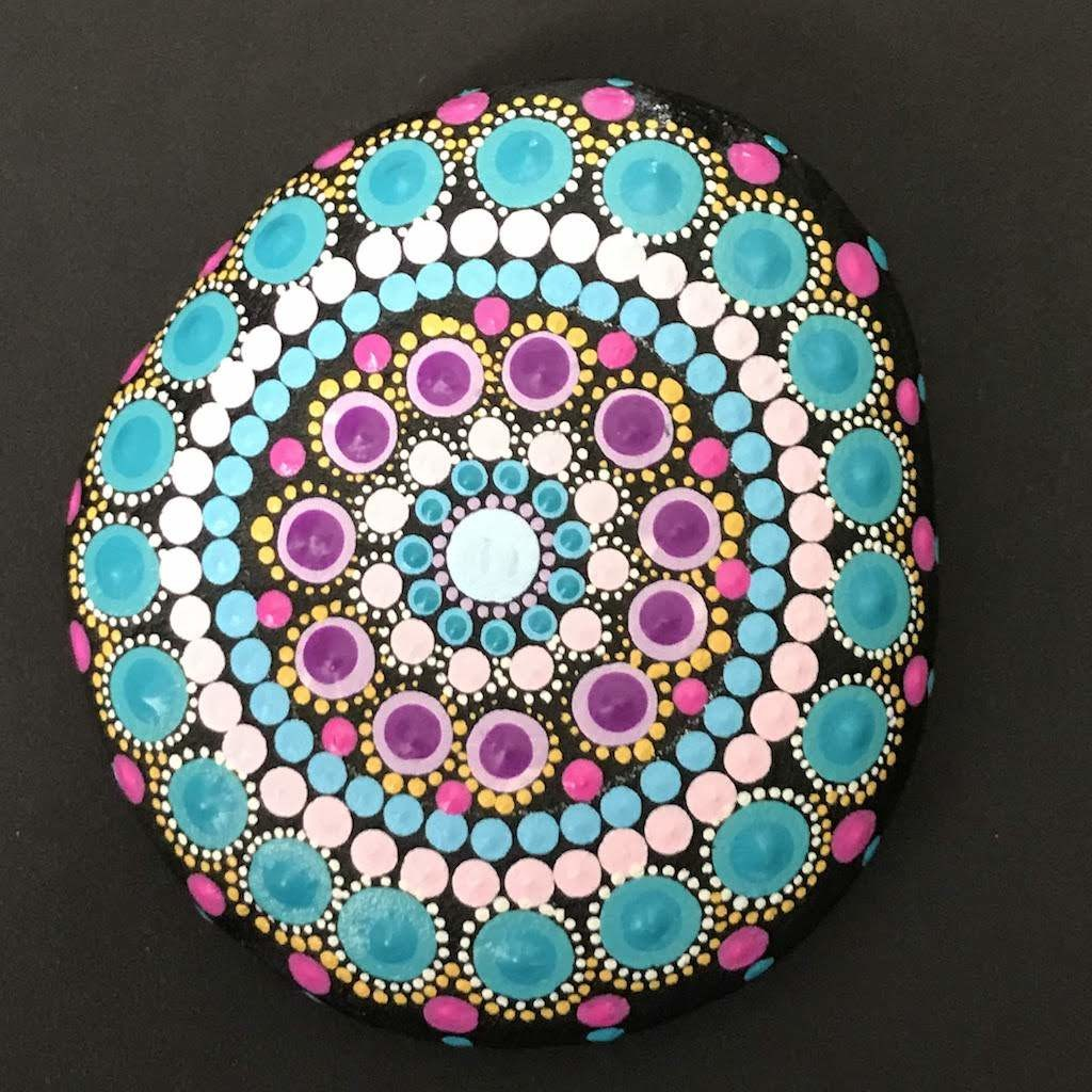 Blue Pastel Dot Mandala Rock Meditation Home Decor Mindfulness Spring Gardening