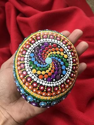 Rainbow Rock Dot Mandala Art Meditation Mindfulness Home Decor Spring Garden