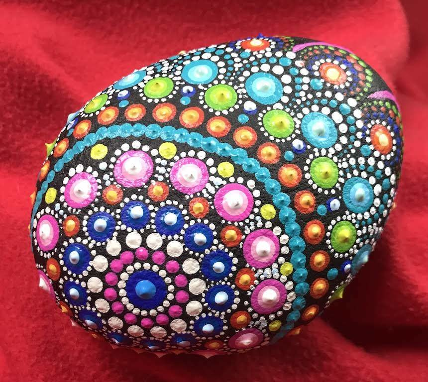 Multicolored Dot Mandala Rock Painting Home Decor Spring Garden Unique Gift