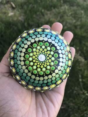 Metallic shades dot mandala handmade rock