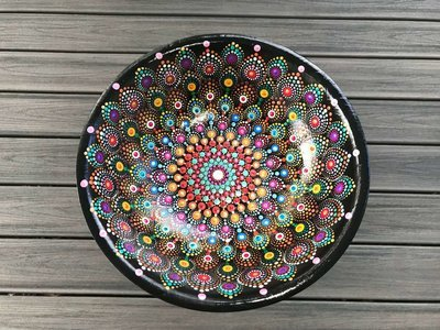 SOLD Mandala Wood Bowl