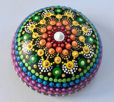 Rainbow Dot Mandala Created Rock