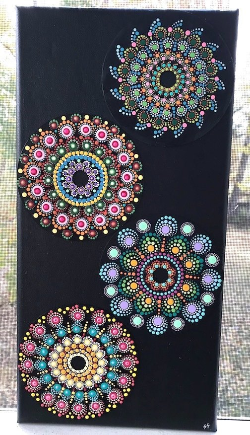 Mandala Dot Art Designs 4 CDs on Canvas