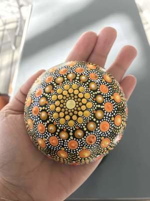 Mandala Yellow Sunshine Handmade Rock