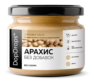 Арахисовая паста Без добавок DopDrops 250 г