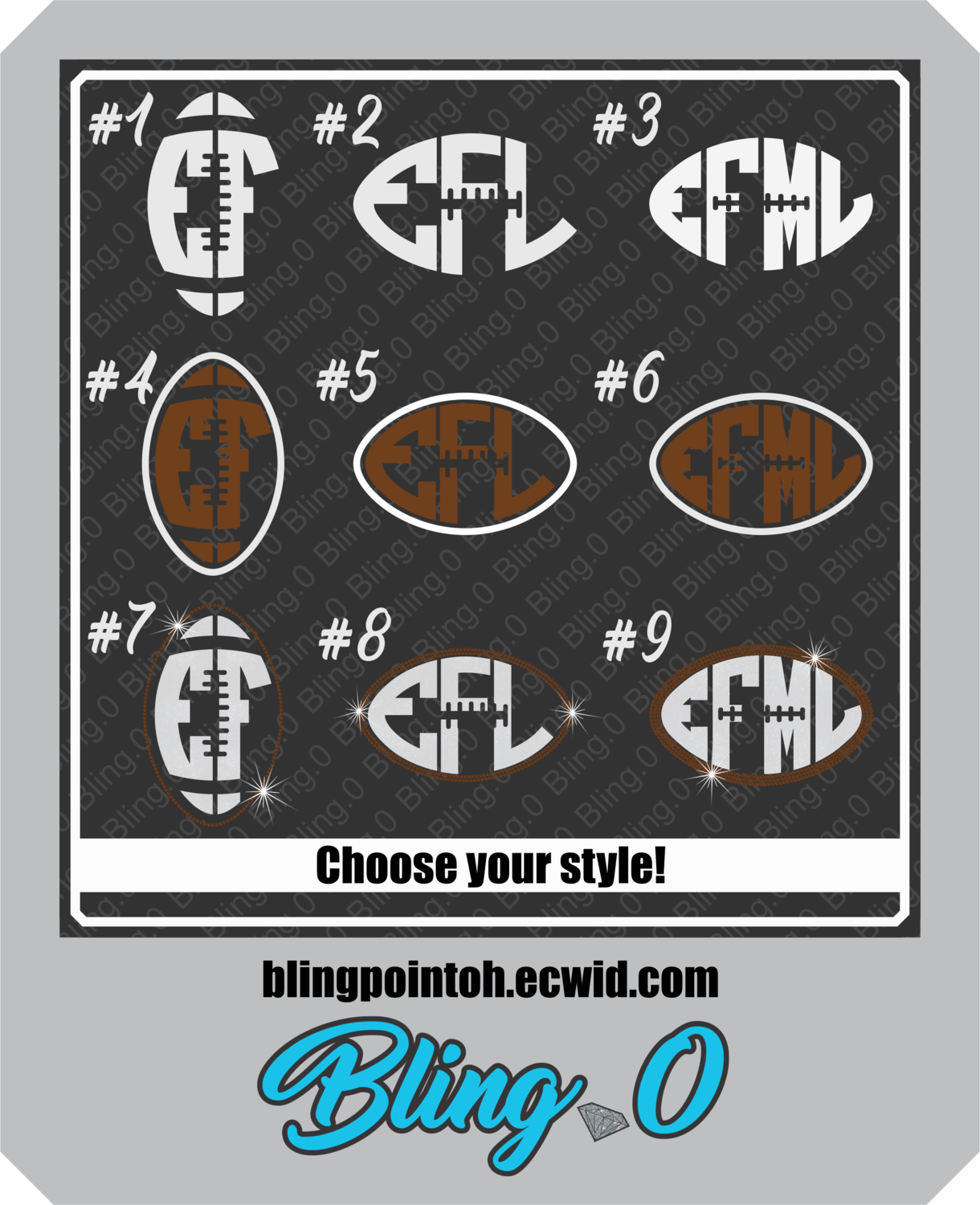 Football monogram decal football bling football monogram car decal custom decal