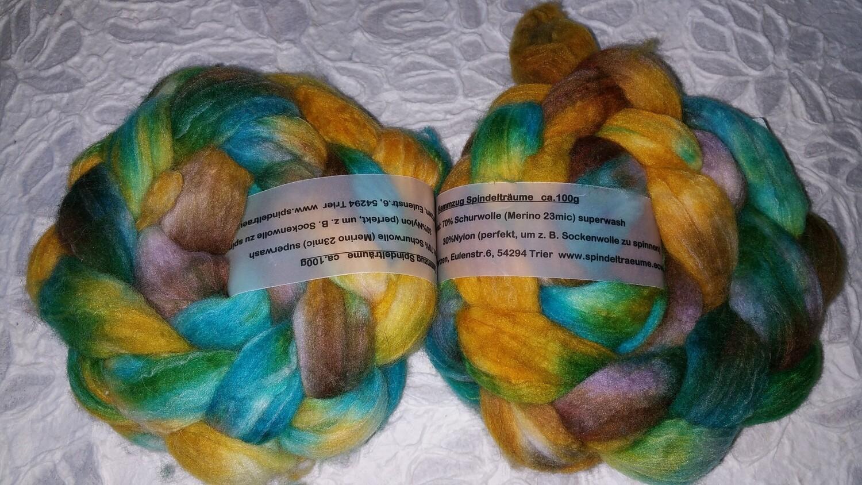 Kammzug Merino Nylon, perfekt für Sockenwolle