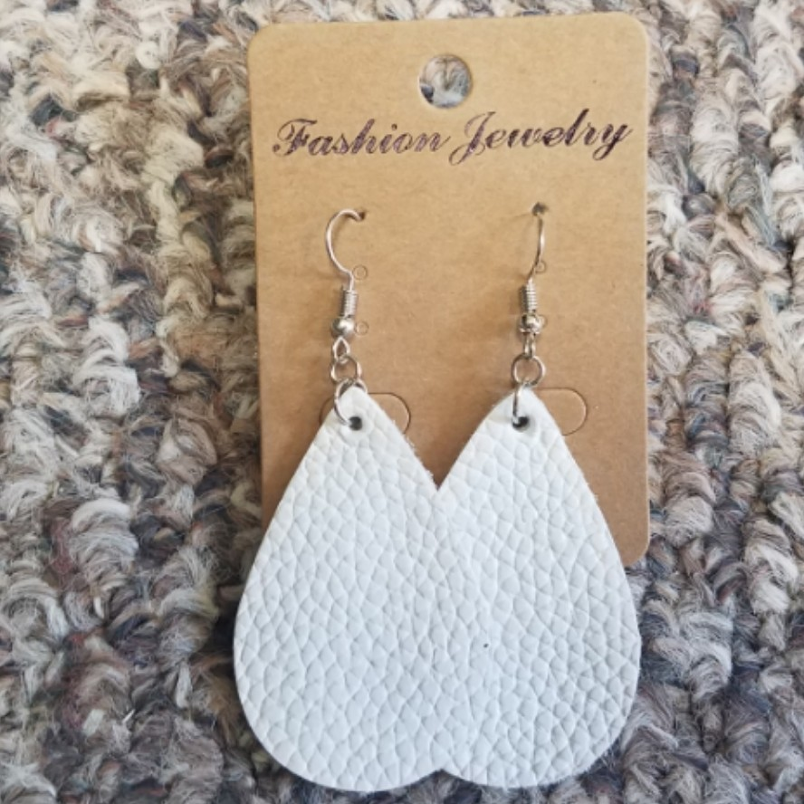 Teardrop Leather Earrings - White