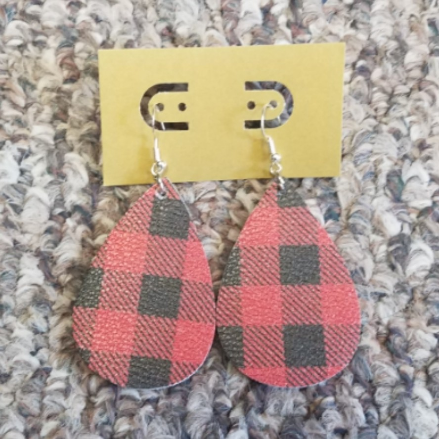 Teardrop Leather Earring - Red Buffalo Plaid