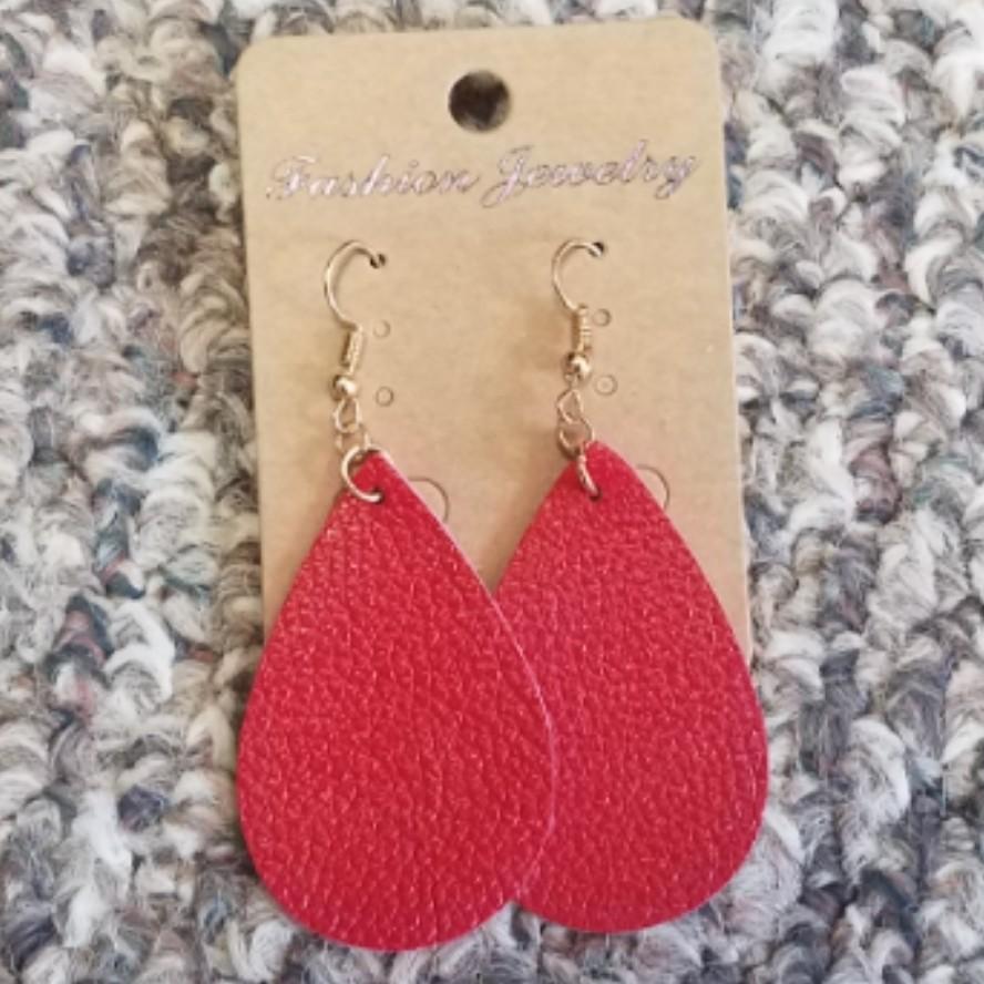 Teardrop Leather Earring - Red