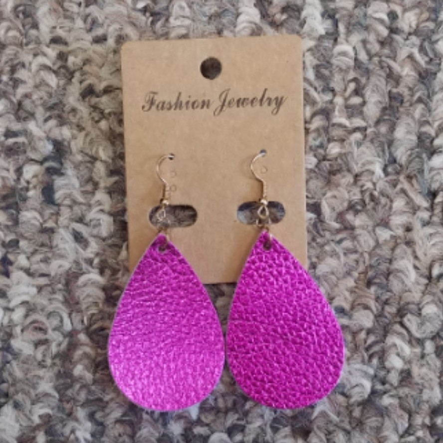 Teardrop Leather Earrings - Pink