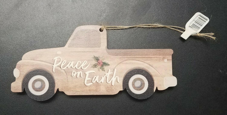 Peace on Earth Wood Ornament