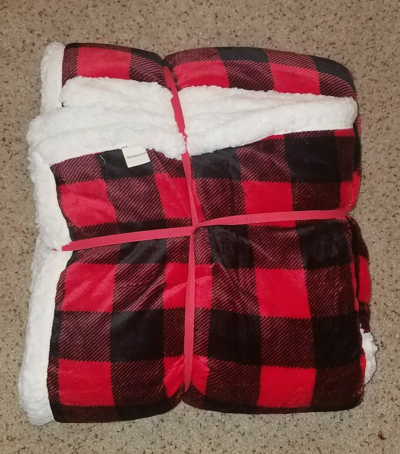 Red and Black Buffalo Sherpa Blanket
