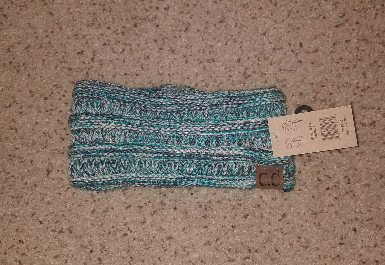 C.C. Four-Tone Ribbed Knit Headwrap - Multi Green