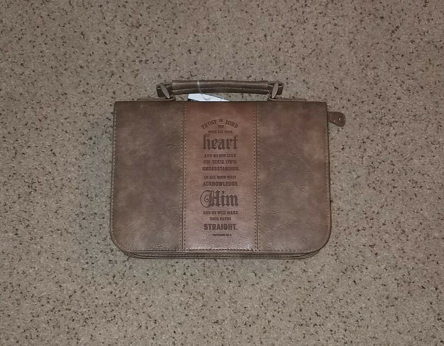 Trust In The Lord Classic Brown Leather Bible Cover - Large