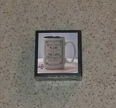 A Man's Heart Ceramic Coffee Mug in Brown - Proverbs 16:9