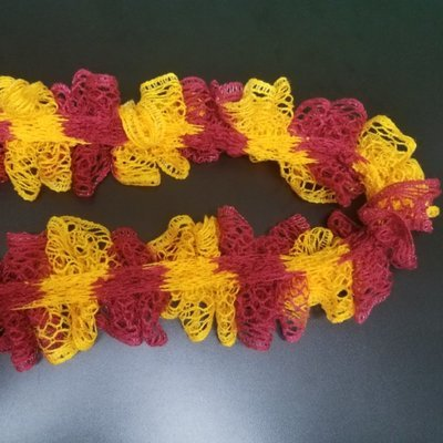 Maroon and Gold Ruffle Scarf