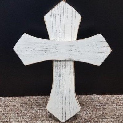 White Wash Wooden Cross