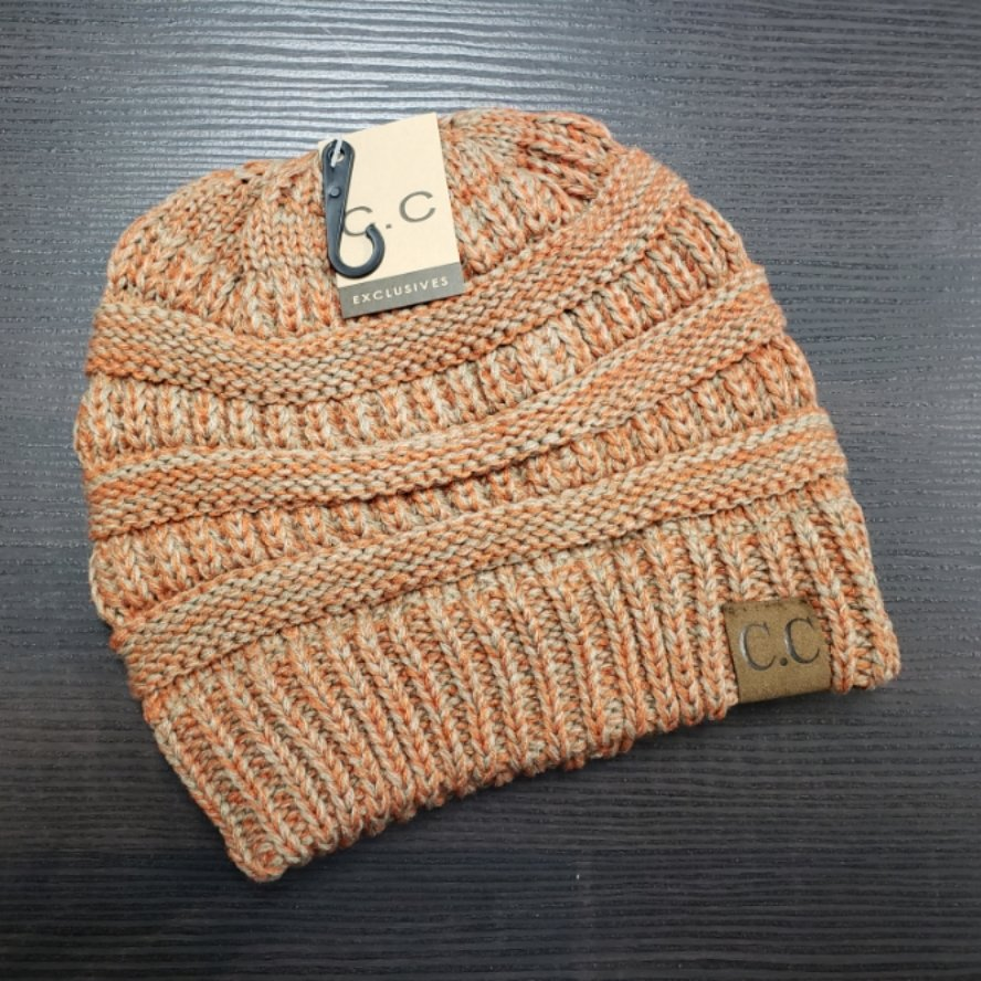 CC Beanie - Orange/Taupe