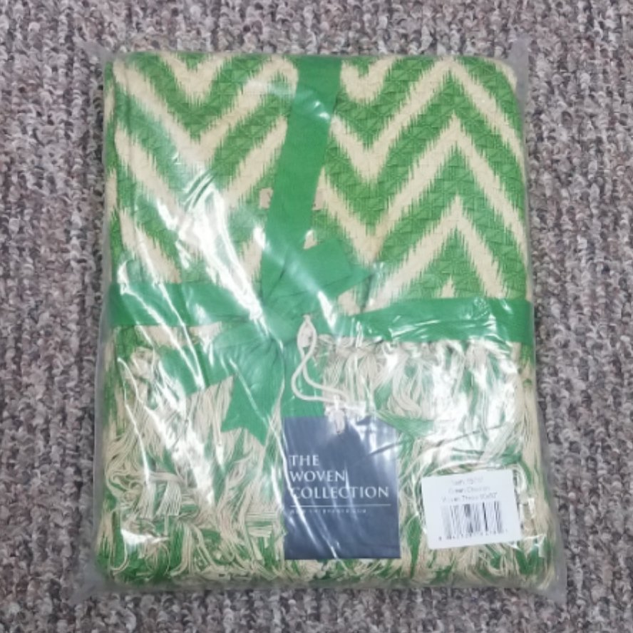 Green Chevron Woven Throw 60x50