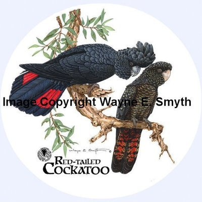 Red-Tailed Cockatoos - Round - Metal Tins