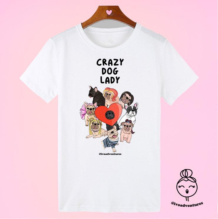 Crazy Dog Lady - White Tshirt by Ivo