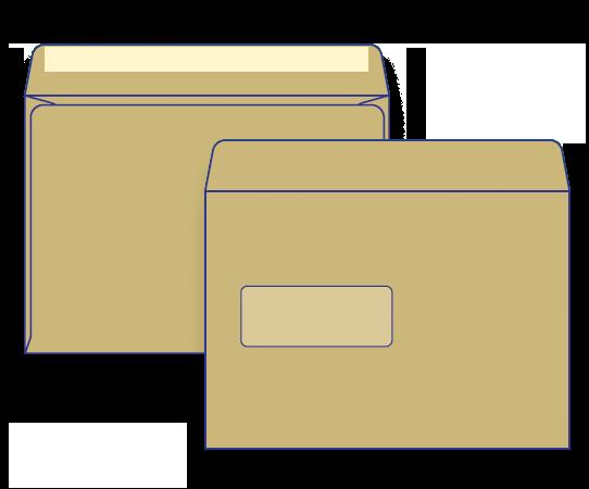 50938 - C5 Brown Craft Barcode Window Face Lick & Stick