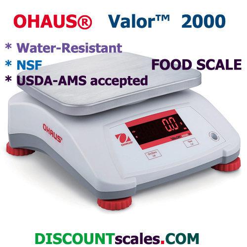 Ohaus® V22PWE3T Valor™ 2000 Food Scale   (6.0 lb. x 0.001 lb.)