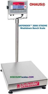 Ohaus® D32XW60VL Defender™ 3000 Washdown Bench Scale (132 lb. x 0.02 lb.)