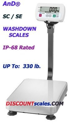 A&D Weighing® SE-150KAM Washdown Bench Scale  (330 lb. x 0.05 lb.)