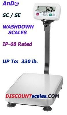 A&D Weighing® SC-150KAM Washdown Bench Scale   (330 lb. x 0.05 lb.)