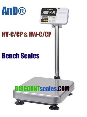 A&D Weighing® HW-100KCP Bench Scale      (200 lb. x 0.02 lb.)