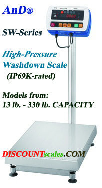 A&D Weighing® SW-150KM Washdown Bench Scale  (330 lb. x 0.02 lb.)