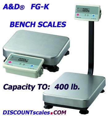 A&D FG-150KAM Bench Scale  (300 lb. x 0.02 lb.)
