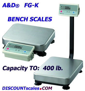 A&D Weighing® FG-200KALN Bench Scale  (400 lb. x 0.1 lb.)