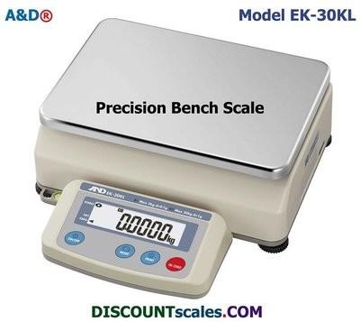 A&D EK-30KL Bench Scale   { 6 / 66 lb. x 0.0005 / 0.005 lb.   (3 / 30 kg. x  0.1 / 1.0g.) }
